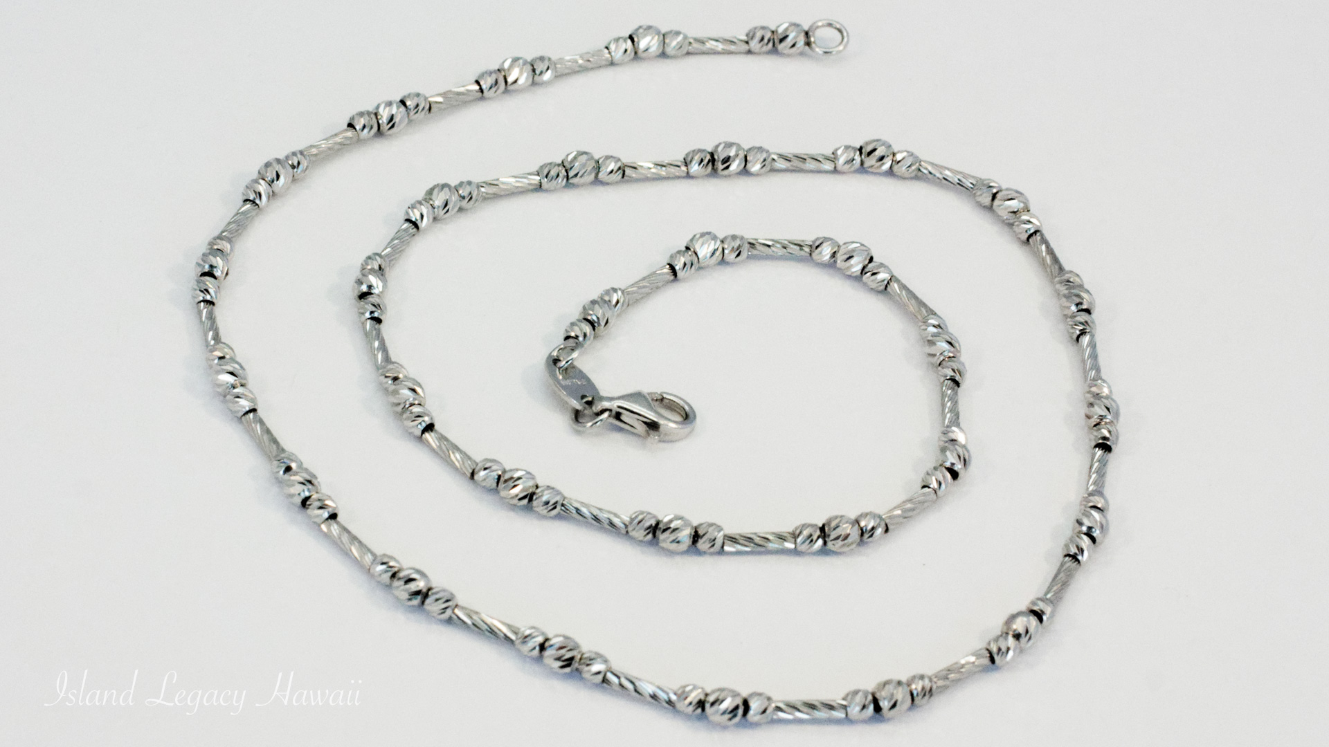 """The perfect chain in 14K white and rose gold, 16 – 18"""" long, 96 full-cut diamonds equaling 0.35 cts. #KNK1199D5 11/6"""